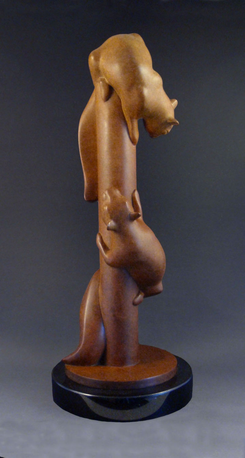 "Squirrel Chase - © 2010 Kristine Taylor, Bronze, edition of 15, 17""H x 7""L x 7""W"