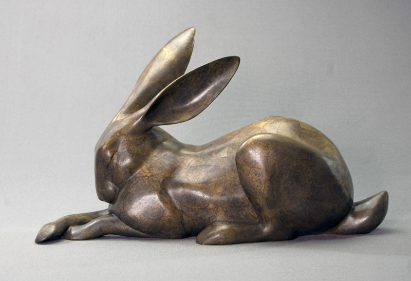 "Resting Rabbit  - © 2017 Kristine Taylor, Bronze, edition of 15, 9""H x 14.5""L x 6""W"