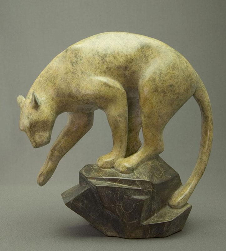 """Puma   - ©2018 Kristine Taylor, Bronze, edition of 15, 9.5""""H x 9.5""""L x 5""""W"""