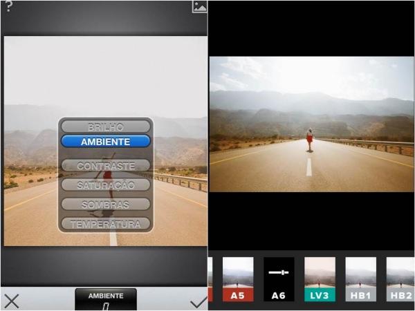 Os dois programas de edição, na foto 1 o exemplo de trabalhar todas as camadas da foto com o SNAPSEED.    Na foto 2, os filtros do VSCOCAM