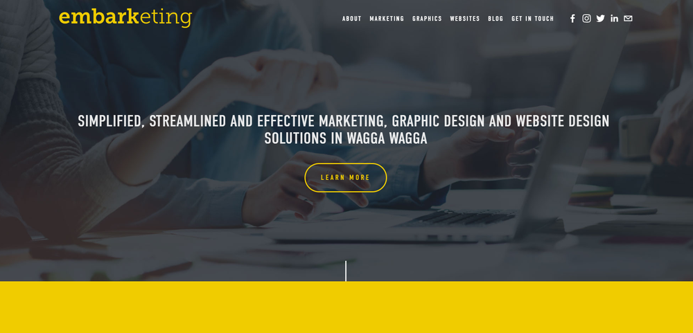 The bold design of the Embarketing homepage really drew me in!