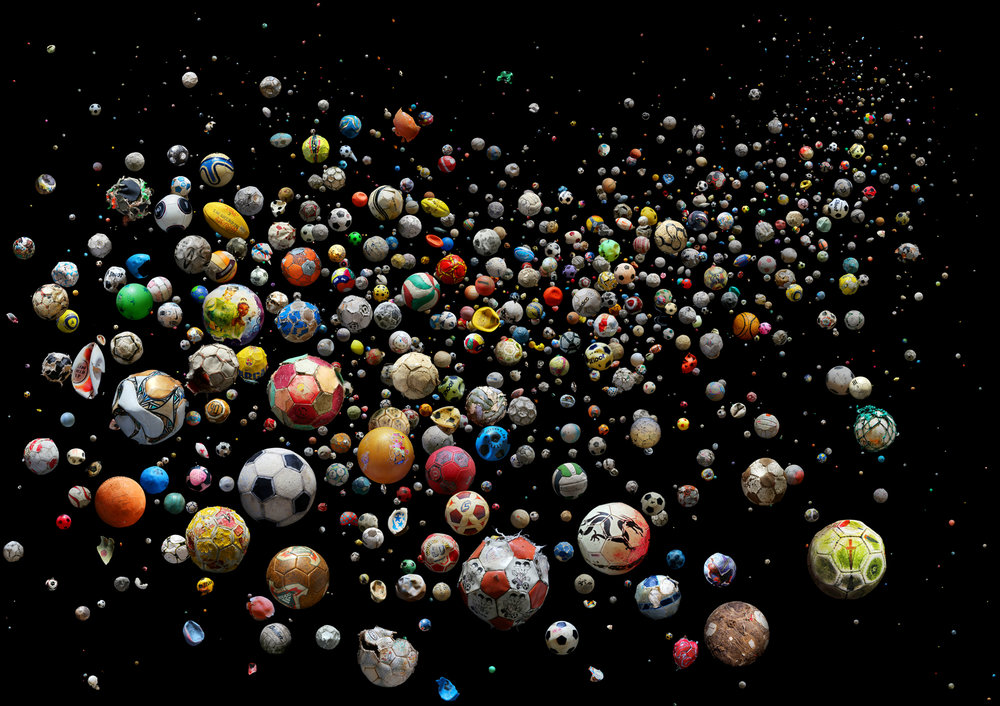PENALTY – The World  769 marine debris footballs (and pieces of) collected from 41 countries & islands around the World, from 144 different beaches and by 89 members of the public in just 4 months  (from PENALTY series)