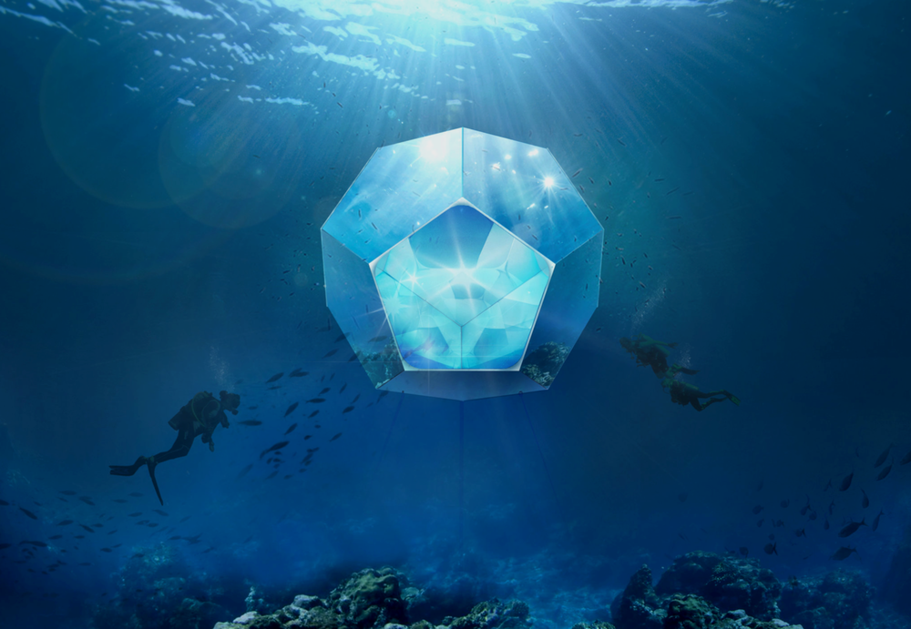 Image credit: Doug Aitken, Underwater Pavilions, 2016, three underwater, geometric submersible environments with composite materials, mirror, and live video feed. Courtesy of Doug Aitken Workshop, Parley for the Oceans, and The Museum of Contemporary Art, Los Angeles; image by Conner MacPhee.  Learn more .