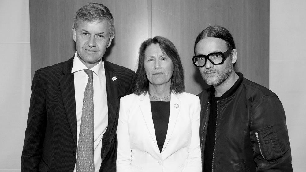 Erik Solheim, UN Environment Executive Director,Grete Faremo, UNOPS Executive Director, Cyrill Gutsch, Parley Founder