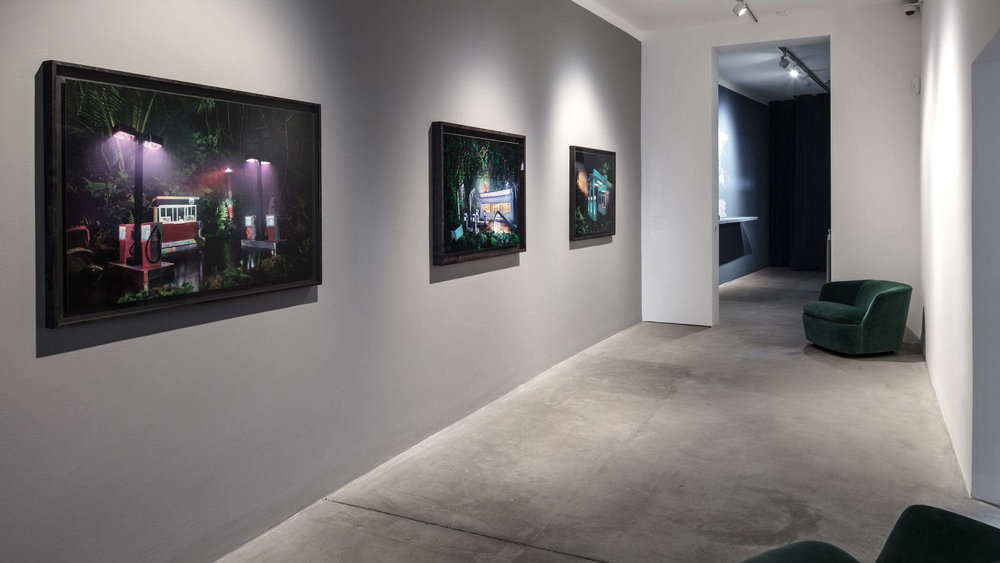 Installation view: David LaChapelle: Gas Chevron, Gas am pm, Gas 76, all 2012, C-prints. Courtesy David LaChapelle Studio.