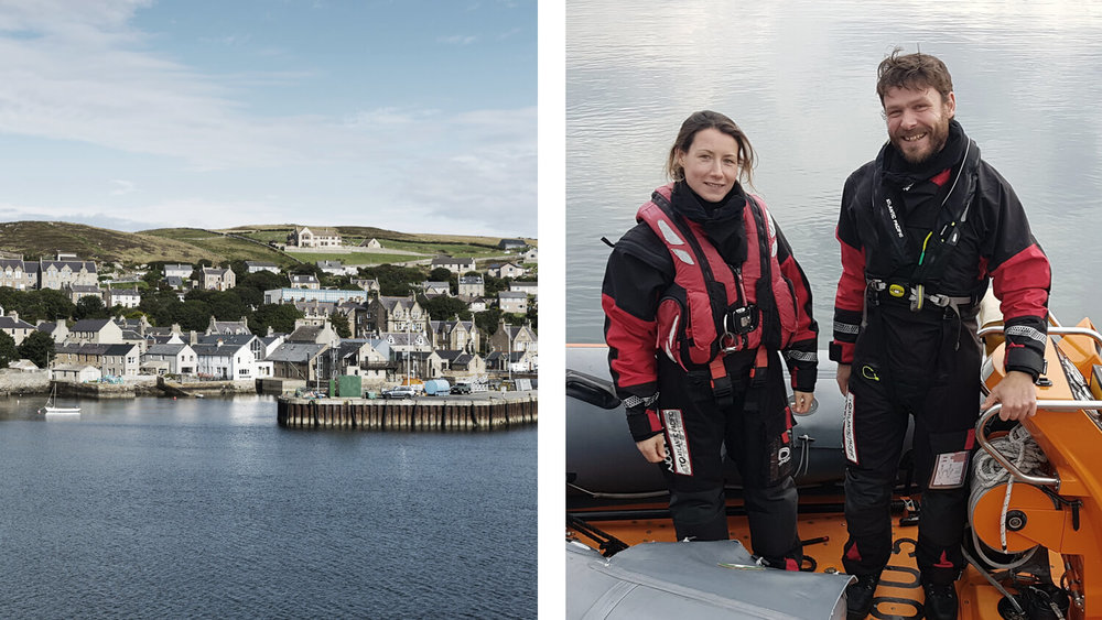 Left: Stromness town on Orkney Island © VisitScotland / Kenny Lam. Right: Gill Houlsby, Skye Community Leader.