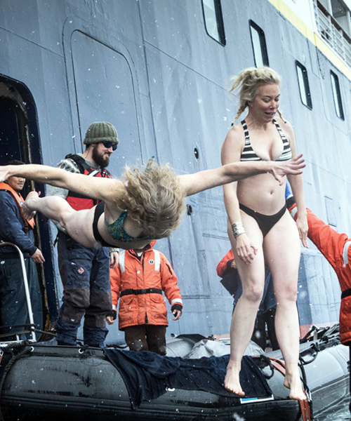 Glaciologists Erin Petitt   and M Jackson take a dive.