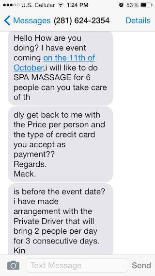 PSA:  Credit Card Scam  for Spa Owners & Service Industry Professionals