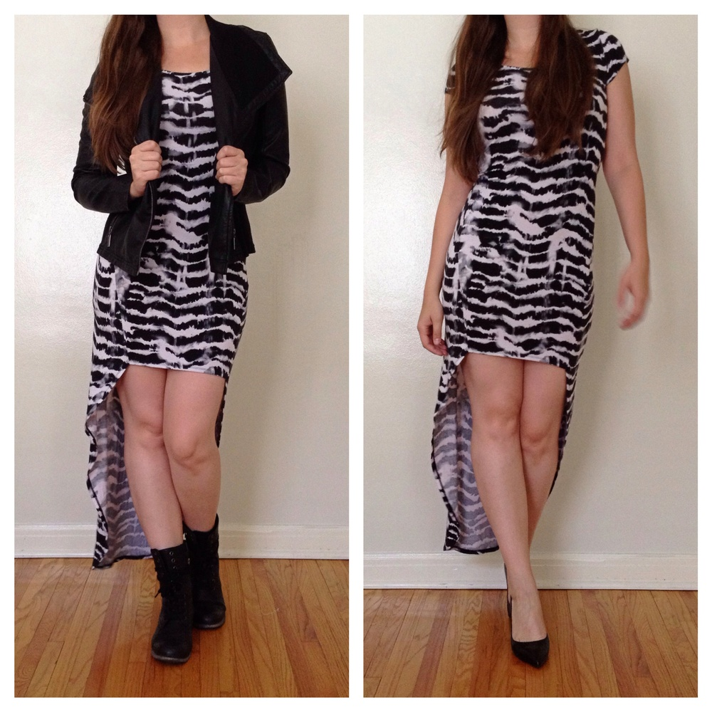 Styling of the Hi-Lo Guess Dress from Crossroads Trading Co., Pasadena, CA. $13.50  Details: Motorcycle Jacket- Target via Minneapolis Salvation Army Target Basement Combat Boots- Nordstrom Rack Shoes- Nine West via Opitz Outlet, St. Louis Park, MN