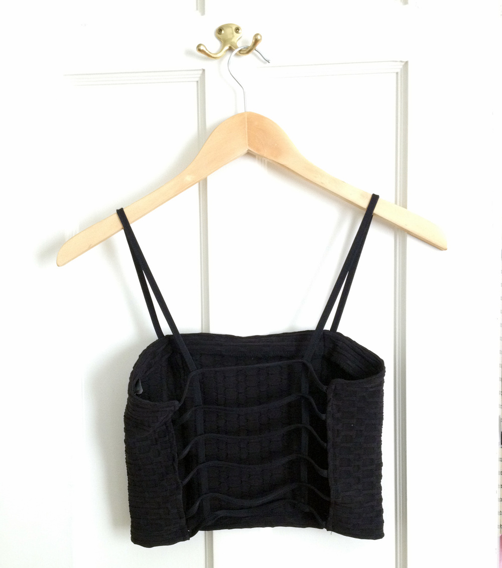 These caged bralette/crop tops have been all the rage since Brandy Melville came out with one. Final price on this one was a mere $10, so I decided to jump on the bandwagon.