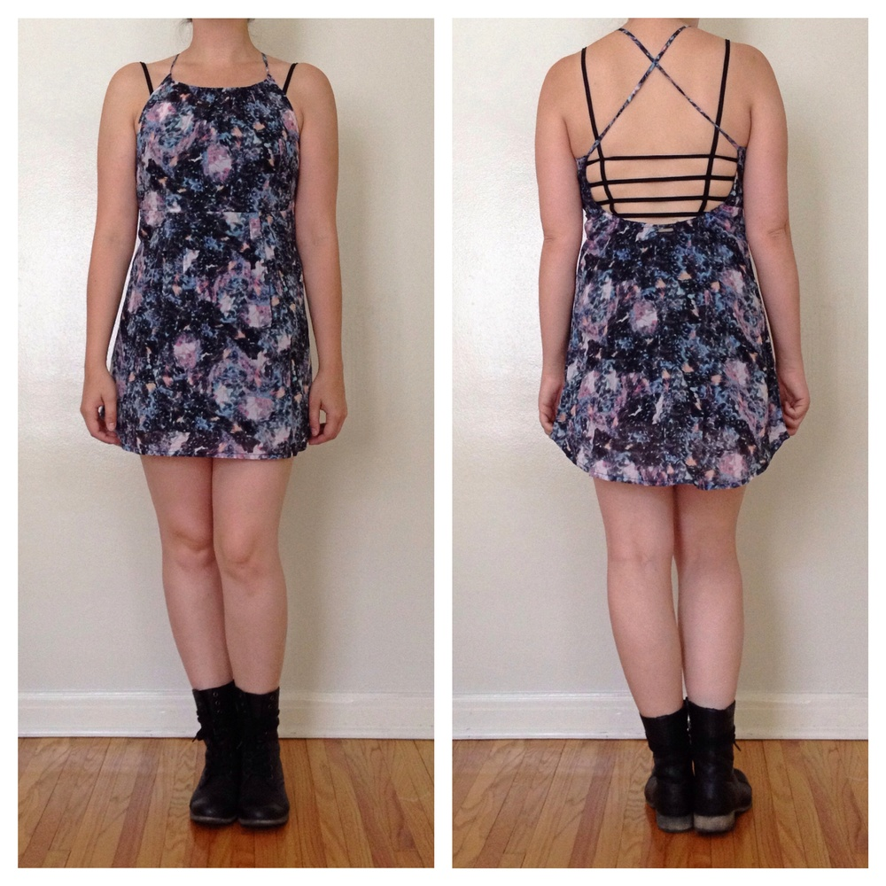 Awww. It's a match made in heaven. My new $10 caged top from Urban Outfitters with my old $7.50 'trippy' halter dress. I call it my 'trippy' dress because that is what the tag said when I bought it! Haha, Oh, Urban.  Details: Boots- Nordstrom Rack