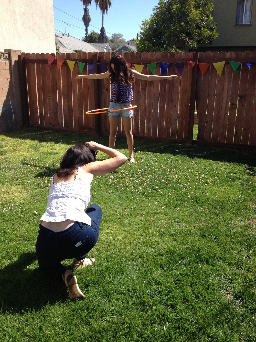 Stephanie Hynes  shooting  Rubina!  Styling by ME! :) Target Top, Model's Jean Shorts and Sandals.