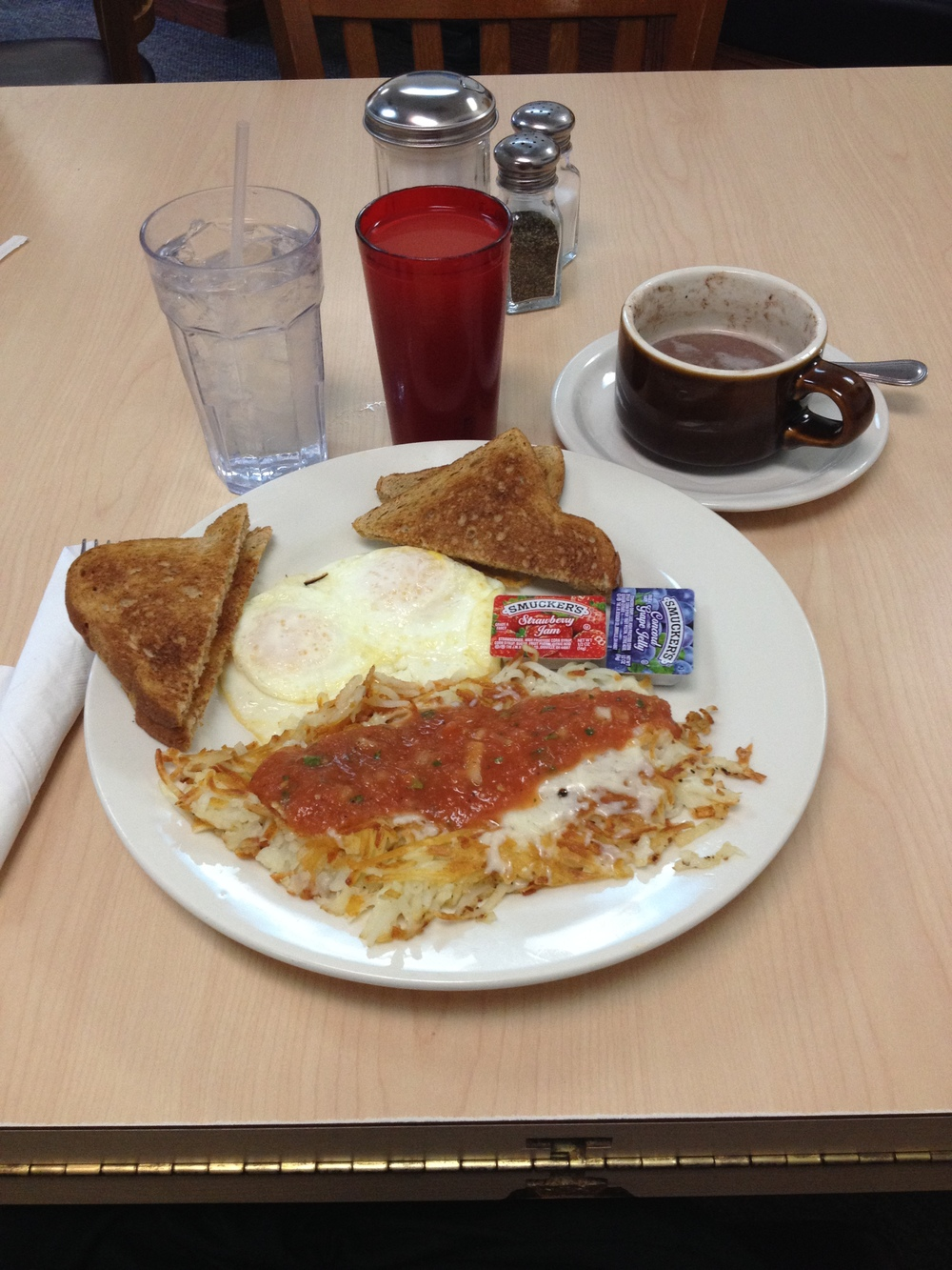 This is my favorite breakfast in all of America. AZHB - Arizona Hashbrowns, Mountain Home Cafe, Estes Park, CO.   Definitely worth the 14 hour drive!