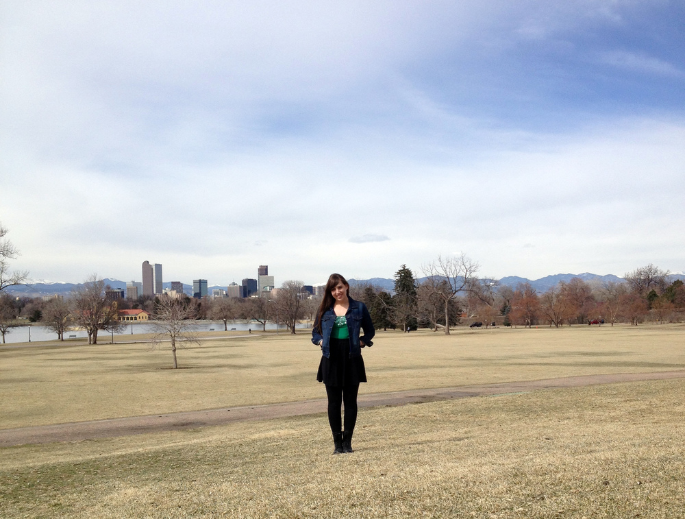 Happy St. Patrick's Day from Denver, CO. This is taken near the Denver Museum of Nature and Science. I love how you can see the mountains and the skyline behind me!