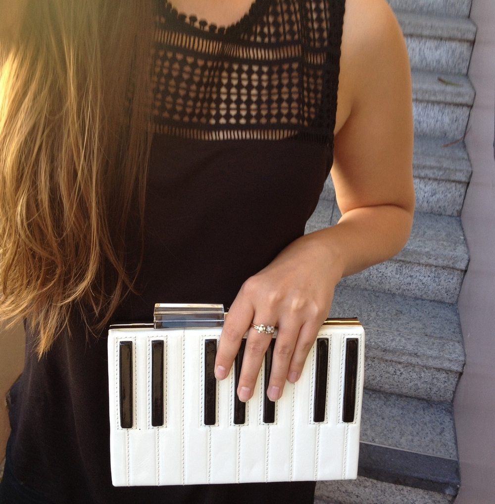This was one of my favorite accessories, the Kate Spade piano clutch. Couldn't resist taking a pic with it!