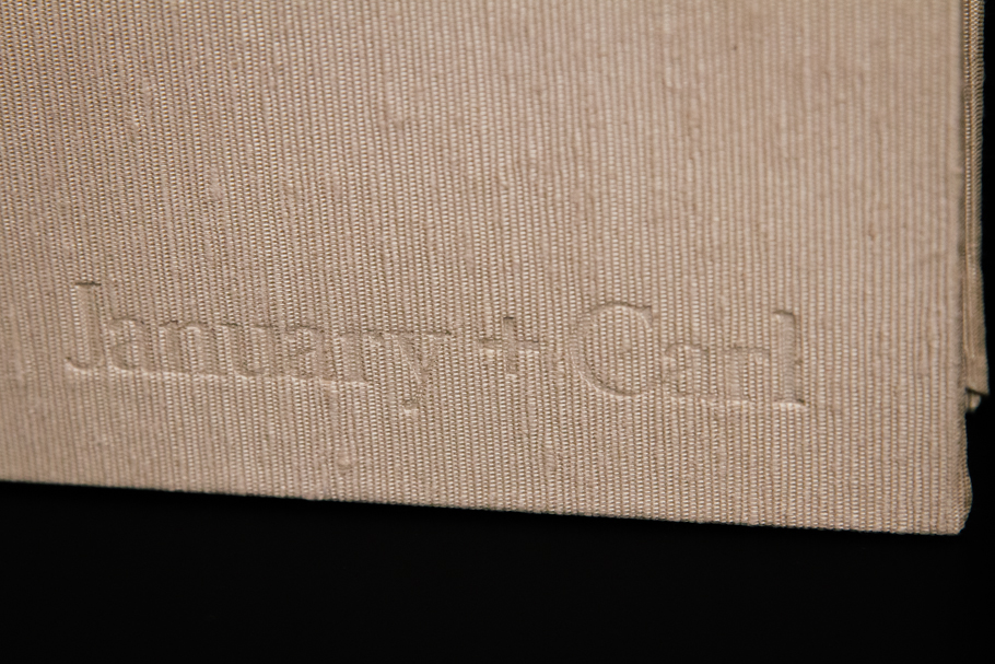 Each wedding album comes with custom, personalized debossing that can read whatever you choose to enhance the wedding album.