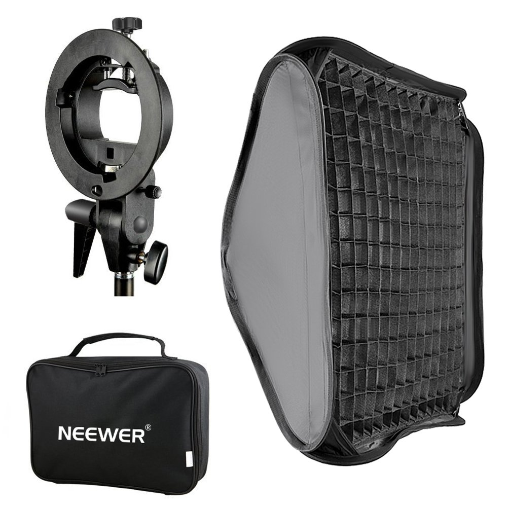 """Neewer 24x24"""" Bowens Mount Softbox with Grid and S-Type Flash Bracket for Speedlite"""