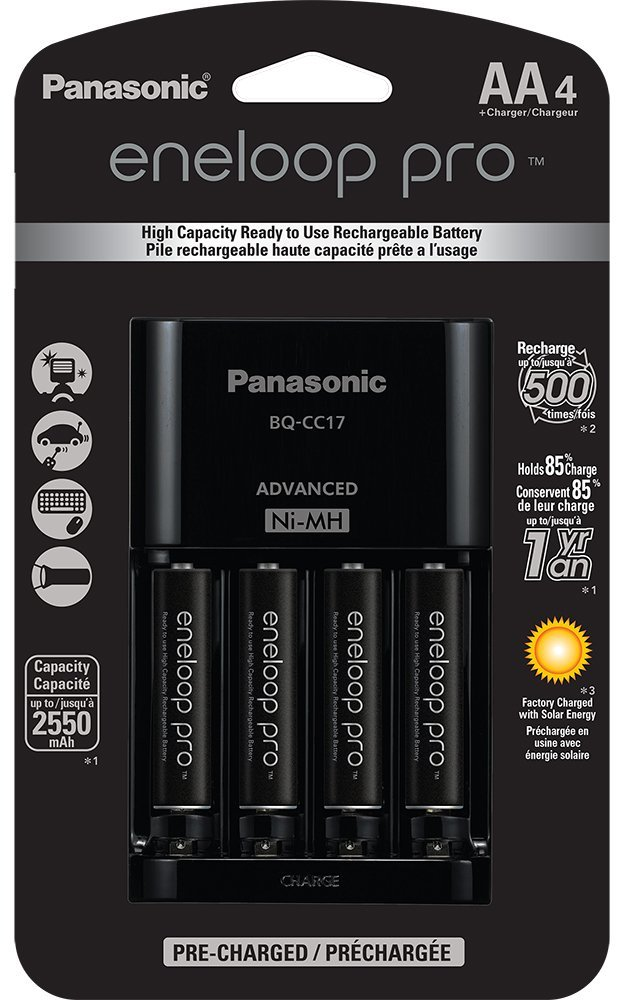 Panasonic Eneloop Pro Individual Cell Battery Charger with 4 AA Ni-MH Rechargeable Batteries