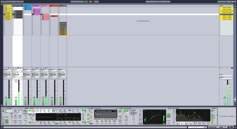 "Quickly sketching out ideas for an ""80s synthwave"" track in Ableton's session view."