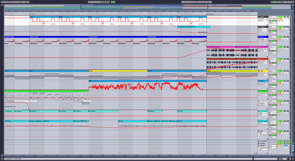 "Laying out a ""chill trap"" track in Ableton's arrangement view."