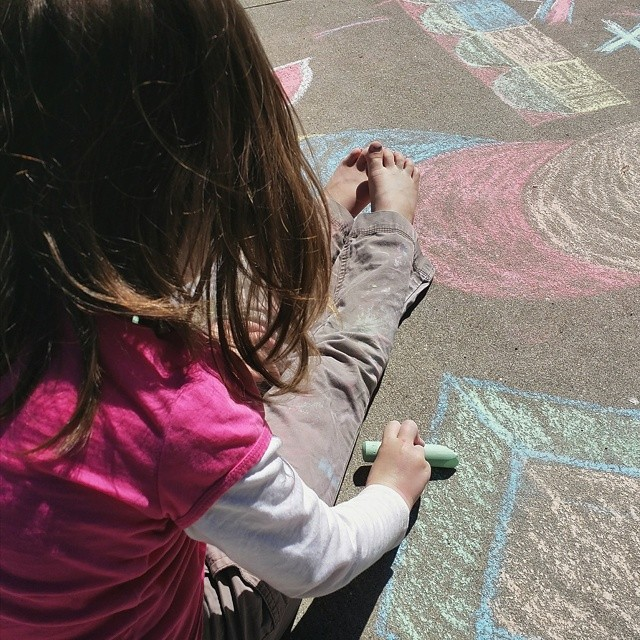 Working on some geo chalk art with Clara #chalk #summer #sun #shapes #vscocam