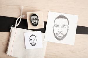 custom hand drawn single portrait stamp yo face