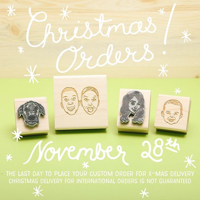 BIG ANNOUNCEMENT! November 28th is our deadline for Custom Portrait Stamp orders. Shipments within the United States will arrive in time for Christmas if placed before this deadline. We're already feeling the Holiday love, thanks everyone! #christmasgift