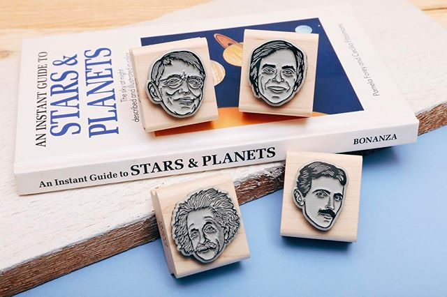 For March we've unveiled 4 new scientist stamps to stimulate your brain. Stephen Hawking, Carl Sagan, Albert Einstein, and Nikola Tesla. All available now on StampYoFace.com or in our Etsy shop. 🔬⚗️🔭