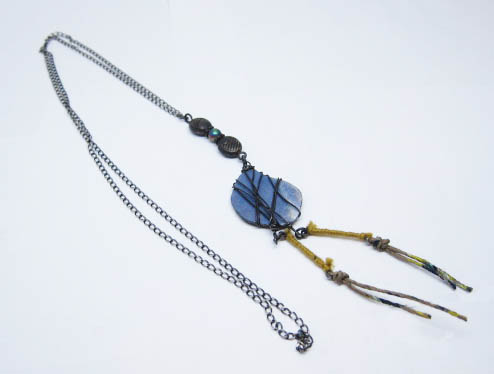 Wrapped %22Stone%22 Yellow Hemp Necklace 2.jpg