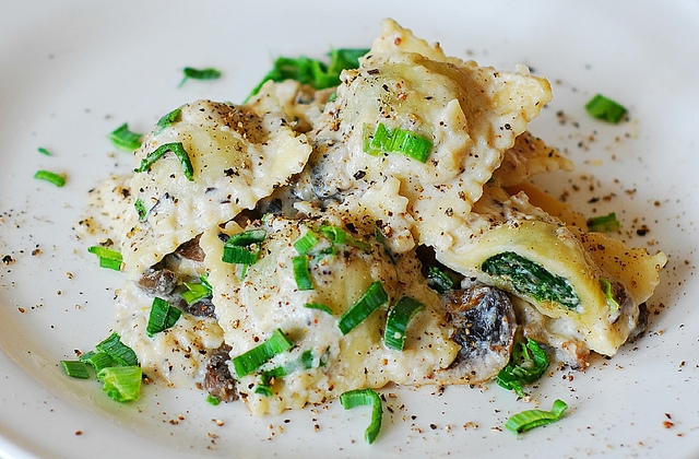 Spinach and Beef Ravioli in Parmesan & Goat Cheese Sauce!