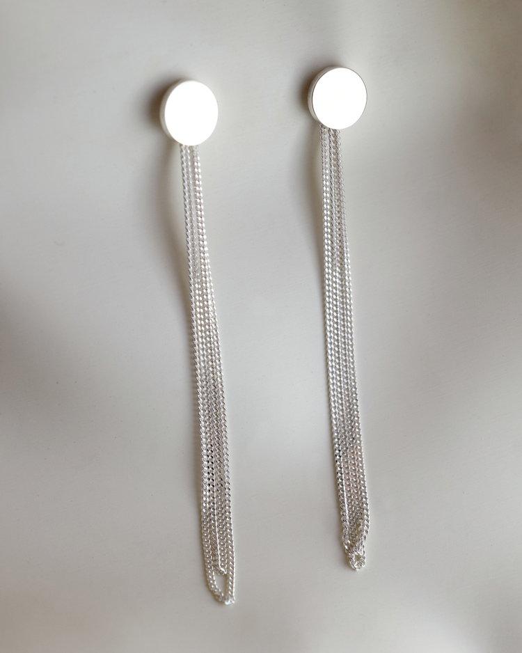 AMA Disc Chain Earrings -Sterling Silver