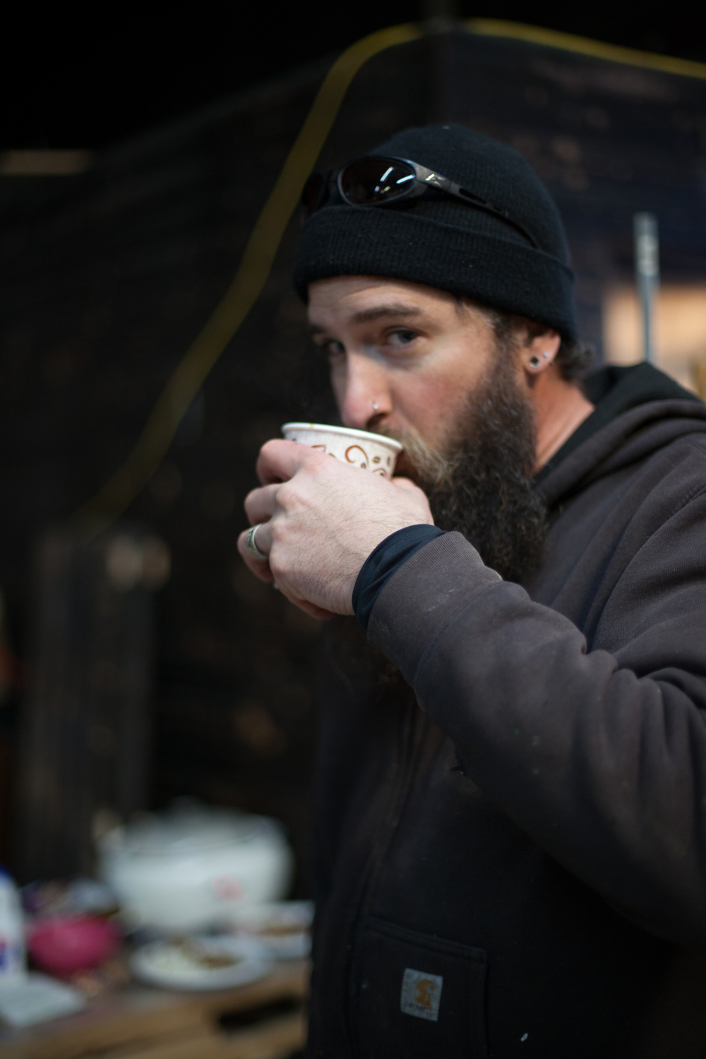 Mat O'Brien drinking Crossroads Coffee from the Maker's Mug at Open Bench Project, 2015