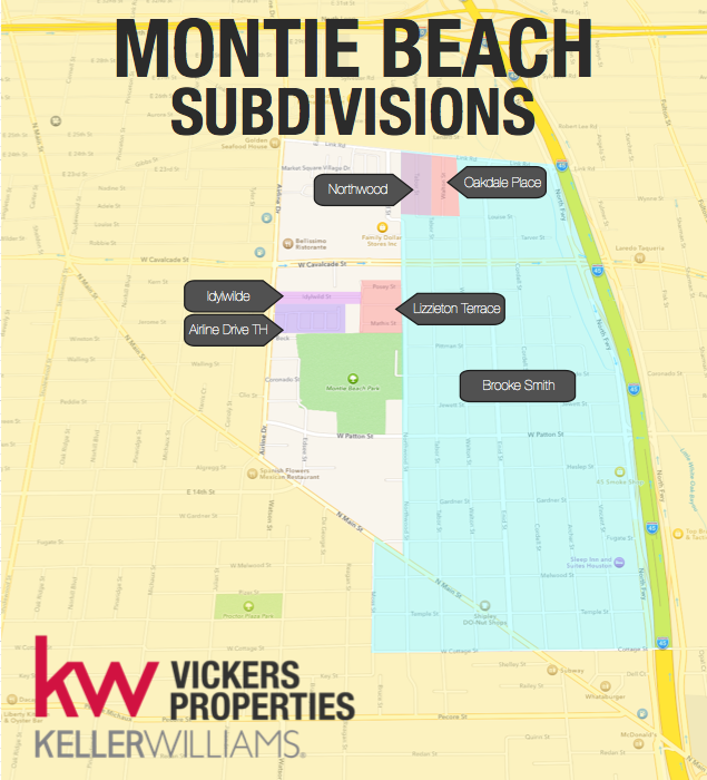 Montie Beach is comprised of several subdivisions including Brooke Smith, Northwood, Oakdale Place, Idlywild, Lizzieton Terrace and Airline Drive Town Homes. Click to enlarge the map.