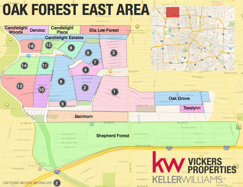 Oak Forest East Area is comprised of 15 of the 18 Oak Forest sections and several adjacent subdivisions as shown on this map. Click to enlarge.