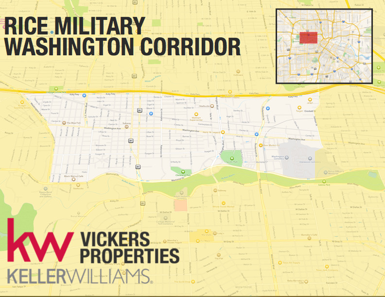 Houston's Rice Military area, also known as Washington Corridor, stretches from Memorial north to I10 between Washington Ave/Westcott St on the West and Sawyer/Taylor on the East.