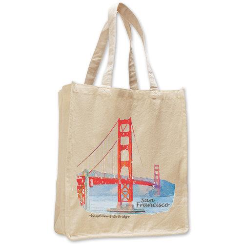 6199e39aa71 GG Bridge Watercolor Jumbo ShopingTote — San Francisco Mercantile