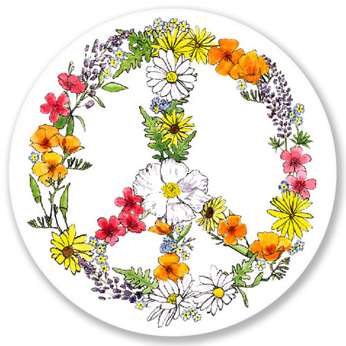 Ca Native Flower Peace Sign Vinyl Sticker San Francisco Mercantile