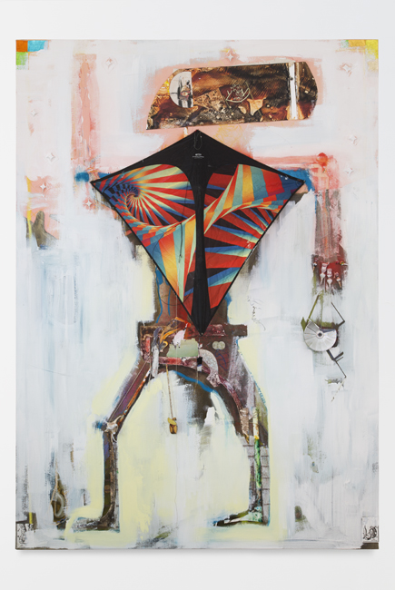 LK_LT.AURELIO SWIMM, LAST IMAGE AS SPACE FARMER_2013_Ink, oil, powder pigment, hydrostone, bones, silk thread, kite, light meter, paper on canvas_213x152x5cm_650.jpg
