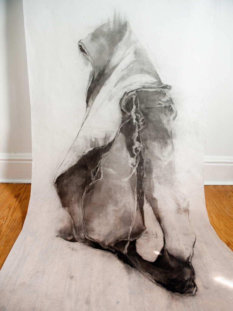 "Charcoal on parchment paper, 36""x120"", 2012."