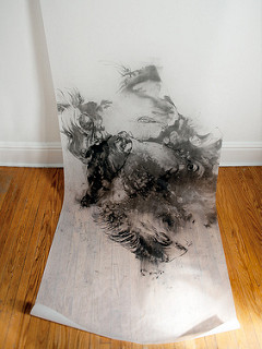 "Charcoal on parchment paper, 36""x120"", 2013."