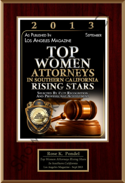 Top Women Attorneys Rising Stars 2013  - Named one of the Top Women Attorneys Rising Stars in Southern California by Los Angeles Magazine in 2013