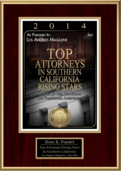 Top Attorneys Rising Stars 2014  - Named one of the Top Attorneys Rising Stars in Southern California by Los Angeles Magazine in 2014