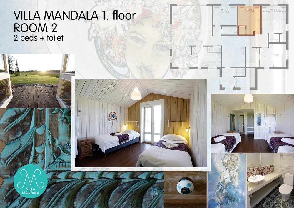 Huone 2: oma vessa, jaettu tilava 4 suihkun kylppäri, kaksi sänkyä, terassi ja 1. kerroksen näköala pellolle.