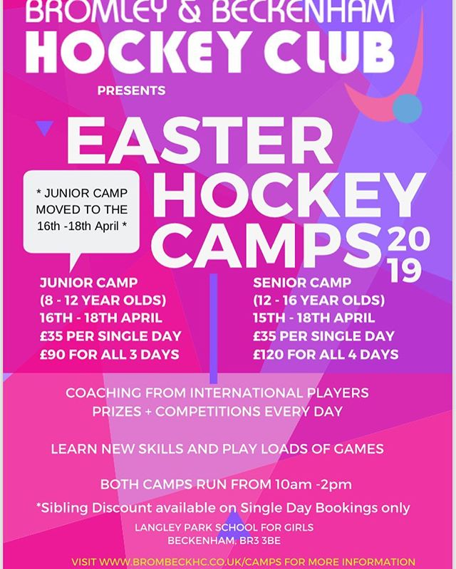 DATE CHANGE **EASTER HOCKEY CAMP** Spaces still available - don't miss out on attending our junior hockey camp running soon!  www.brombeckhc.co.uk/camps/  #gbhockey #brombeckhc #hockey #hockeycamp #juniors #halfterm #bromley #beckenham #southeastlondon #london #schoolholidays #schoolholiday #sportscamp #training #skills #practice #alllevelswelcome #getinvolved #gethealthy #thisgirlcan #thisboycan #easter #easterholidays #eastercamp