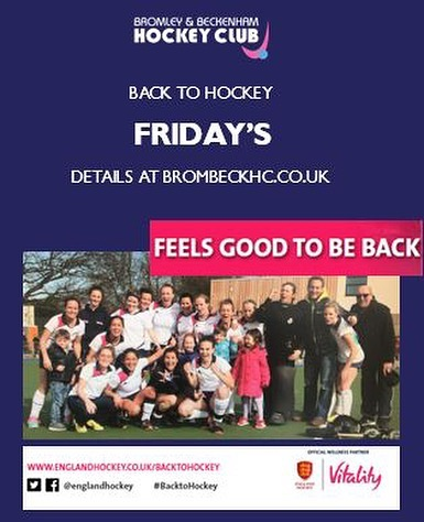‪Back to Hockey **THIS** Friday...looking to join a team, get fit and enjoy socials why not come down and give us a try‬ ‪@EnglandHockey @Vitality_Uk ‬ ‪ Spread the word, family and friends welcome, all standards!‬ ‪#BacktoHockey #ThisGirlCan #GetInspired #englandhockey #HockeyFamily #hockey #fieldhockey #brombeckhc #ladies‬ ‪#sport #social‬