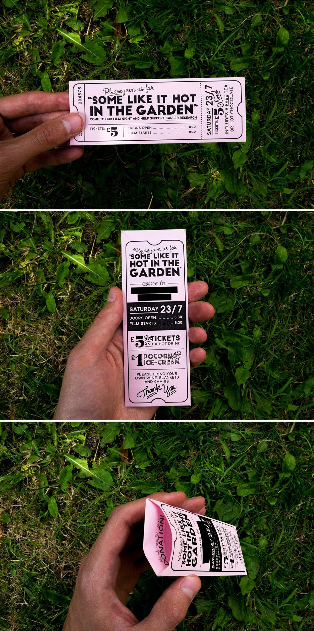 "Ticket / donation-envelope design for ""___ in the Garden"" a series of intimate, charitable, open-air movie nights!"