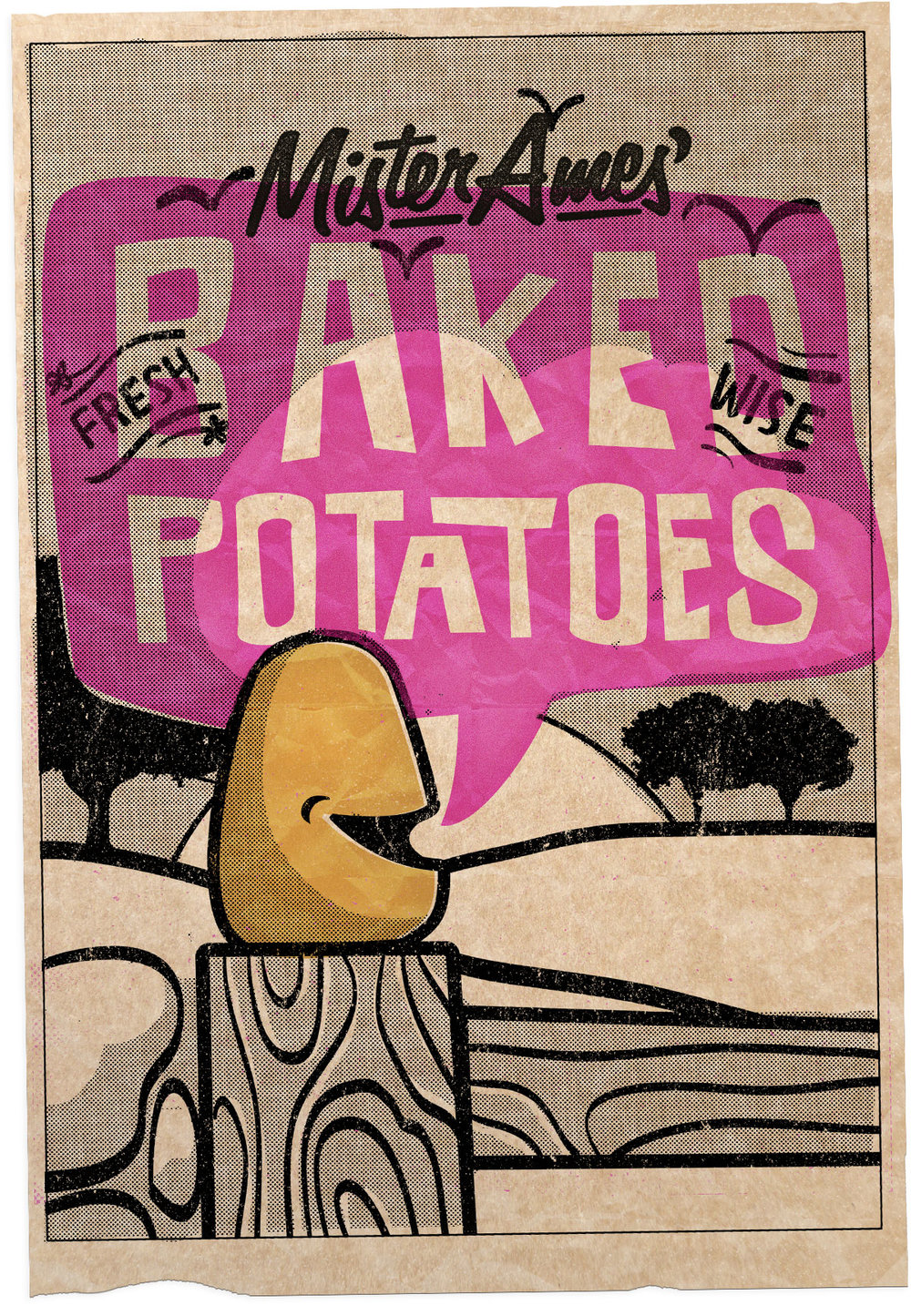 Poster design for Baked Potato Necklaces: laser-cut jewellery based on the Matt Lucas song 'Baked Potato'