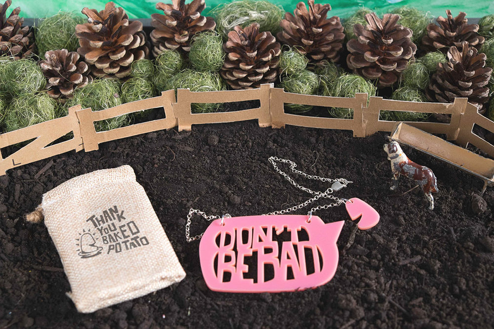 Packaging design for Baked Potato Necklaces: laser-cut jewellery based on the Matt Lucas song 'Baked Potato'