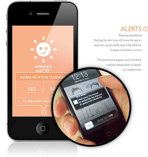 Alerts in 'Is it Nice?': an emotionally-advisory weather app that learns the user