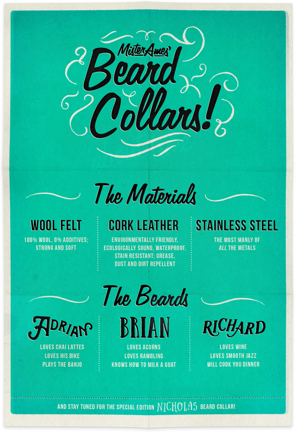Beard Collars: peter pan necklaces that double as emergency beards!